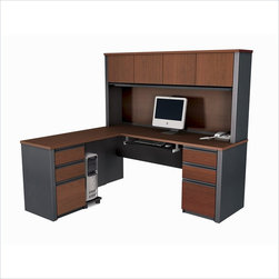 Bestar - Bestar Prestige + L-Shape Wood Computer Desk in Bordeaux / Graphite - Bestar - Office Sets - 9985239 - The traditional style and modern-day functionality of this collection can answer all of your office needs. Just imagine the possibilities. The Prestige + collection combines elegance with the durability and versatility needed by today's office. This 10 piece reversible modular collection offers a multitude of configuration possibilities for the home or office.