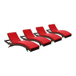 Modway Imports - Modway EEI-1176-BRN-RED Peer Chaise Outdoor Patio Set of 4 In Brown Red - Modway EEI-1176-BRN-RED Peer Chaise Outdoor Patio Set of 4 In Brown Red
