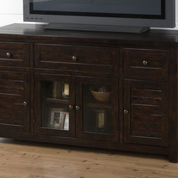 Jofran - Jofran 820-9 Media Unit w/ 3 Drawers - 2 Wood Doors - 2 Glass Doors - Casual style gets a high-end face-lift with the decorative look of this TV cabinet. Taking its lead from a high-end trend that is focused on rich  dark wood finishes  this piece will provide you with style and function at a price you can afford. The design of the TV stand is fairly relaxed with straight lines and paneled drawers & doors while the rich finish gives the piece a look of class. Accents include glass doors with a shelf behind and small knob hardware for an understated detail.