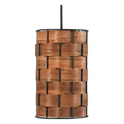 "Kenroy Home - Asian Shaker 6"" Wide Basket Weave Mini Pendant - Bring a touch of nature to your home with this mini pendant light. Featuring a shade made of a chunky basket weave with a rich wood grained glow this design is versatile and stylish. From the Shaker Collection by Kenroy Home. Chunky basket weave shade. Acrylic diffuser. Three maximum 100 watt or equivalent bulbs (not included). Includes one 6"" three 12"" downrods. 6"" wide. 10"" high.  Basket weave shade.  Rich wood grained glow.   Real wood strips threaded through metal frame.  Acrylic diffuser.  Bronze finish canopy.  Maximum 100 watt or equivalent medium base bulb (not included).  Includes one 6"" three 12"" downrods.  6"" wide.  10"" high.  Canopy is 5"" wide 3/4"" high.   2.6 lb. hang weight."