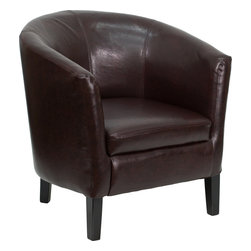 Flash Furniture - Flash Furniture Brown Leather Barrel Shaped Guest Chair - GO-S-11-BN-BARREL-GG - This brown leather barrel shaped side chair and reception chair from Flash Furniture is the perfect complement to any office styling. From a rustic decor to executive styling, anyone will be happy with the look these side chairs provide. [GO-S-11-BN-BARREL-GG]