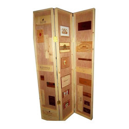 """Pre-owned Cigar & Wine Crate Room Divider - For cigar and wine lovers, this handsome hand made room divider is made from repurposed cigar and wine crates. The crates are framed with white pine on mahogany veneer panels. This divider unit is lightweight for easy movement and storage.     Each panel measures 6'x14""""."""