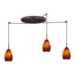 Besa Lighting - Besa Lighting 3BW-171318-HAL Pera 3 Light Halogen Cord-Hung Mini Pendant - The Pera 6 is a curvy bell-bottomed shape, that fits nicely into any contemporary design. Our Amber Cloud glass is full of floating, vibrant warm tones that range from light gold to deep amber. When lit, the humid color palette illuminates to exude a harmonious display. This decor is created by rolling molten glass in small bits of brown hues called frit. The result is a multi-layered blown glass, where frit color is nestled between an opal inner layer and a clear glossy outer layer. This blown glass is handcrafted by a skilled artisan, utilizing century-old techniques passed down from generation to generation. Each piece of this decor has its own artistic nature that can be individually appreciated. The cord pendant fixture is equipped with three (3) 10' SVT cordsets and a 3-light large round canopy, three (3) suspension stemhooks included.Features: