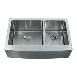 """Kraus - Kraus 33"""" Farmhouse Double Bowl Stainless Steel Sink Combo Set - Add an elegant touch to your kitchen with unique Kraus kitchen combo"""