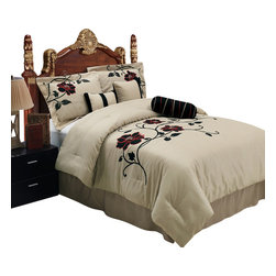 Bed Linens - Medford Luxury 7-Piece Comforter set, Queen Size - Material : 100% Polyester Face, Backing & Filling.