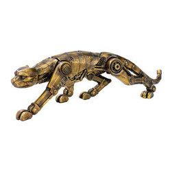 EttansPalace - 15 inches Wide Cyber Leopard Brass Statue - The heart of the wild meets the industrial age in a hybrid you won't find anywhere except! Our coveted predator, cast in quality designer resin, is imaginatively sculpted to prowl on Steampunk style gears, valves and the hinges inspired by the Victorian age. Our animal collectible boasts an antique brass finish that showcases each sculptural detail! 15Wx4Dx5H. 1 lb.