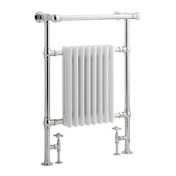 "Hudson Reed - Marquis Traditional Hydronic Towel Warmer Radiator Rail 37"" x 25"" & Valves - The 37"" x 25"" towel warmer will perfectly complete the look of your traditional styled bathroom. This towel warmer is manufactured from brass, which has a high quality chrome finish to ensure long lasting durability. The brass towel warmer features an angled top rail, which is ideal for drying your towels. With a BTU output of 3,525 (1,003 watts) you can be sure of warm towels and a cosy bathroom."