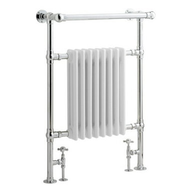 """Hudson Reed - Marquis Traditional Hydronic Towel Warmer Radiator Rail 37"""" x 25"""" & Valves - The 37"""" x 25"""" towel warmer will perfectly complete the look of your traditional styled bathroom. This towel warmer is manufactured from brass, which has a high quality chrome finish to ensure long lasting durability. The brass towel warmer features an angled top rail, which is ideal for drying your towels. With a BTU output of 3,525 (1,003 watts) you can be sure of warm towels and a cosy bathroom."""