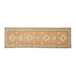 Oriental Rug, Kazak 3'X11' Hand Knotted Runner Rust Red 100% Wool Rug SH11068 - This collections consists of well known classical southwestern designs like Kazaks, Serapis, Herizs, Mamluks, Kilims, and Bokaras. These tribal motifs are very popular down in the South and especially out west.