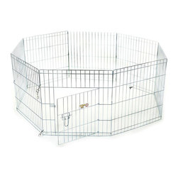"""Majestic Pet Products - 36"""" Exercise Pen -Medium - Titan brand 36"""" Pet Exercise Pen by Majestic Pet Products is great for use at home, travel, or shows. This exercise pen is made of 9 & 11 gauge wire with a titanium zinc-plated finish and has a secure, double latch door within a panel, for easy step through access. You have the flexibility to arrange this pen in the shape of choice or even buy two exercise pens and hook them together to make a larger exercise pen. It can also be attached to a dog crate for a complete kennel solution. Easy assembly - just unfold and secure with the included ground anchors. Easy to carry - just fold it flat! Sizing Rule of Thumb: Choose a pen that is at least 4"""" inches taller than the top of your dogs head."""
