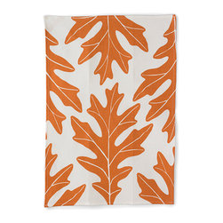 "Bambeco Oak Leaf Linen Tea Towel in Copper - Hand-printed with water-based inks on natural linen in the USA, the Oak Leaf Linen Tea Towel in Copper is the perfect kitchen accomplice. A bold copper-colored fall leaf design on linen brings style and seasonal color to your kitchen. The 100% linen fabric is sturdy, absorbent and becomes softer with each use. Use these towels to dry the dishes, cushion a bowl, protect your hands, wrap a gift or set a table. They're a natural, reusable and responsible alternative to paper.  Linen may be one of the oldest textiles in the world, dating back to approximately 8,000BC; it is the strongest of the vegetable fibers, smooth and lint free. Linen is highly absorbent and easily dyed; the color will not fade with washings.  Dimensions: 18""W x 26""L  Care: Machine wash, tumble dry low"