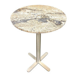 """Pre-owned Welch Dunbhill Granite Top Bar Table - We've got a crush on this Welch 'Dunhill�۪ bar table with a satin steel base and a Juperana granite top. The height of the table is 42�H with a 28"""" diameter top. Great for indoors or out! This small narrow table can fit anywhere!"""