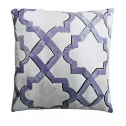 5 Surry Lane - Dransfield and Ross Purple Moroccan Lattice Pillow - Bring a dash of worldly appeal to your room with this globally inspired pillow.  It will brighten any space with its vivid pattern and exotic vibe.  Reverses to solid.  Down/feather insert included.  Hidden zipper closure.  Made in the USA.