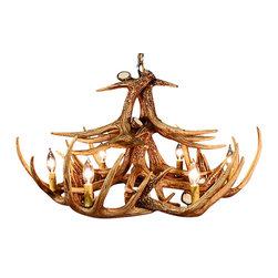 Muskoka Lifestyle Products - Rustic Whitetail Antler Chandelier - 12 Antlers 6 Lights - Our Rustic Whitetail 12 Antler Chandelier is the best faux antler chandelier available on the market. We have taken our replication process from our other rustic decor items and matched the authentic finish. Real antlers are used to model the reproduction after for an exact and comparable result.�The process to create the antler chandeliers uses a time proven, cast resin system to ensure perfection in every piece. We have hand-stained and antiqued each antler to achieve the exact comparable match to the real antler. Bring the perfect rustic decor to your home, cabin, or office with these antler chandelier reproductions. From the large majestic options to the quiet accent lights, our reproduction antler chandeliers are perfect for entry ways, pool tables, dining room tables, living rooms, offices, or anywhere you want to hang them to create the perfect, natural look in any room.�All antler chandeliers are UL listed to ensure absolute safety, quality, and US building code parameters are met.