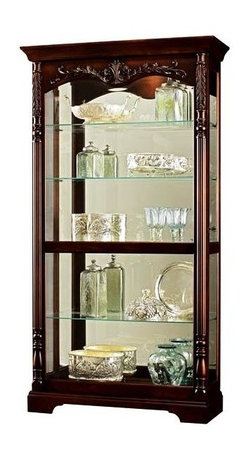 Howard Miller - Felicia Glass Shelves Cabinet in Rustic Cherr - Rustic Cherry finish with distressing on select Hardwoods and Veneers. Sliding front door features a decorative shell and vine overlay and large reefed columns with significantly carved Acanthus top caps and turned bottom caps. Front door slides in both directions for convenient access to the shelves. Beveled Glass on door and Glass mirrored back. Four adjustable Glass shelves with continuous holes for shelf adjustment. Pad-Lock metal shelf clips lock shelves into place. Plate grooves in the Glass shelves allow for vertical display of plates. Front locking door secures your collectibles. No Reach Touch-Lite switch located on the back of the cabinet offers four levels of halogen light: low, medium, high, and off. A handy key holder is attached. Adjustable floor levelers provide stability on uneven floors. 42 in. W x 15 in. D x 78 in. H