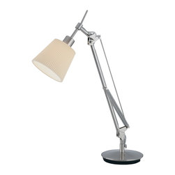 Lite Source - Lite Source LS-20622PS/WHT Ricci 1 Light Desk Lamps in Polished Steel - Desk Lamp, Ps, Pleated Off-White Fabric Shade, E12 G 40W