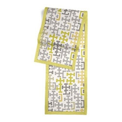 Gray & Citron Modern Cross Motif Custom Table Runner - Set a table for a king! or just your family and friends!! with our gorgeous Tailored Table Runner. Solid edging adds a touch of refinement, perfectly setting off the center fabric. We love it in this gray and chartreuse modern geometric in medium weight cotton.  This may just sum up what your living space is missing.