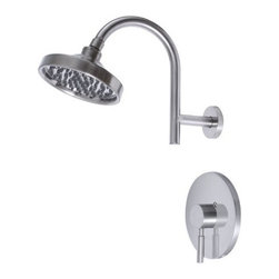 Premier - Essen Single-Handle Shower Faucet - Brushed Nickel - Single handle, pressure balanced Washer less cartridge Metal lever handle Brass showerhead set and slip-fit spout with tub and shower set Coordinate your bathroom suite with Premier Essen shower faucets. Neoteric design combined with Premiers traditional quality create faucets that deliver extraordinary looks and superior performance. Essen's pressure balanced valve prevents cold water shock and hot water scalding due to fluctuations in water pressure. The single-handle Essen shower faucet includes a trouble-free washer less cartridge, all-brass construction, a brass showerhead set, and a brushed nickel finish. This shower faucet provides a flow rate of 2.5 gallons per minute.