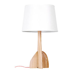 ParrotUncle - Wood Turbine Base Table Lamp with Bell Shade - Stable wood turbine shape base hold steady of this large bell lamp shade. Unleash your inner decorator and design your unique look by matching your favorite shade to this contemporary table lamp.