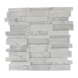 Illusion 3d Brick White Carrera Pattern - ILLUSION 3D BRICKWHITE CARRERA MARBLEPATTERN MOSAIC TILE MARBLE MOSAICS. POLISHED MESH MOUNTED 12X12 SHEET SIZE NATURAL MATERIAL WILL HAVE A COLOR VARIATION WHITE CARRERA 3D BRICK PATTERN, MESH MOUNTED, SOLD BY THE SF -Glass Tiles -
