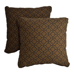 "Dola - Outdoor Patio Accent Pillows, Printed Brown - Enhance the look of your outdoor furniture with the Verano outdoor throw pillow. Comfort is just as important for the patio as it is for inside your home, so dress up your sectional or conversation set with patio furniture pillows. These stylish outdoor, 15"" x 15"" weather resistant accent pillows in brown with a geometric black print will jazz up any patio furniture. Made from 100% polyester, they come with zippered covers which are removable for easy washing. For purchase in sets of two."