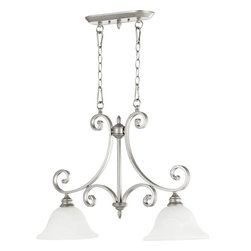 Quorum Lighting - Quorum Lighting Bryant Traditional Kitchen Island Light X-46-2-4556 - Heavier classic detailing, including scrolled ends and turned finials, create an air of elegance for this Quorum Lighting kitchen island light. From the Bryant Collection, this beautiful traditional light fixture comes finished in a more modern Classic Nickel hue, complimented by two Faux Alabaster glass shades.