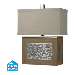 Dimond Lighting - Dimond Lighting HGTV323 Hgtv Home 1 Light Table Lamps in Bleached Wood / Chrome - Wood Veneer Table Lamp with Laser Cut Metal Centre Panel