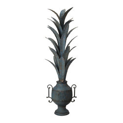 Lazy Susan - Lazy Susan 594031 Tarnished Foliage Urn - If you yearn for an unusual decorative statement, turn to the urn. At about 24 inches high, this piece is handcrafted of iron in a hand applied finish that's sure to earn a respected place in your home.