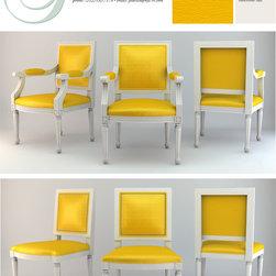 Custom Woodwork - Furnishings - Louis XVI style chair set with yellow vinyl.