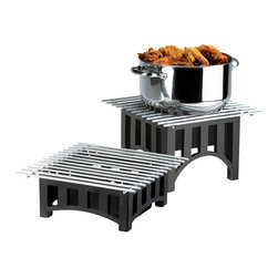 Cal Mil - 12W x 12D x 4H Mission Chafer Alternative Black 1 Ct - This chafer alternative is a perfect for any buffet party or catering event. It creates a new and mission styled look while keeping food warm