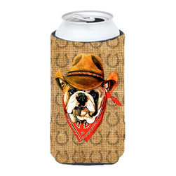 Caroline's Treasures - Bulldog English Dog Country Lucky Horseshoe Tall Boy Koozie Hugger - Bulldog English Dog Country Lucky Horseshoe Tall Boy Koozie Hugger Fits 22 oz. to 24 oz. cans or pint bottles. Great collapsible koozie for Energy Drinks or large Iced Tea beverages. Great to keep track of your beverage and add a bit of flair to a gathering. Match with one of the insulated coolers or coasters for a nice gift pack. Wash the hugger in your dishwasher or clothes washer. Design will not come off.