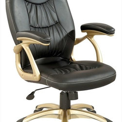 Chintaly Imports - Ultra Comfortable High Back Office Chair in Champagne - Black Stitched Back and Seat for Extra Comfort and Support Office Chair. With Multiple Seat Adjustments. Seat, back and armrest are upholstered in black PU and PVC. 5 star caster base allow the chair to move with ease. Base finished in champagne.