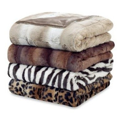 Ellery Holdings Llc - Sheared Mink Ombre Faux Fur Blanket - Experience exceptional warmth and softness with the Sheared Mink Ombre Faux Fur Blanket. The oversized luxurious blanket features a plush ombre printed faux fur front, which reverses to an ultra-soft micro mink back.