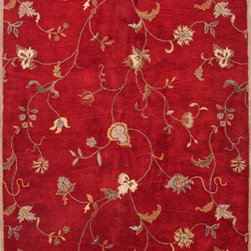 Jaipur - Poeme Red and Ivory Rectangular: 5 Ft. x 8 Ft. Rug - - The Poeme Collection takes traditional designs and re-invents them in a palette of modern, highly livable colors. Each design is made from premiere hand-spun wool and crafted with precision for the look and feel of a hand-knotted rug, at the more affordable cost of a hand-tufted. Poeme will effortlessly coordinate individual design elements to finish any room  - Cleaning and Care: Wool is dirt and stain resistant and will look great for a long time just by vacuuming regularly. Use only cold water when cleaning wool to avoid shrinkage. If spills occur blot immediately then with mild soap and cold water. Do not use oxygen cleaners on your wool rug. Avoid direct sunlight to prevent fading. For best results, periodic professional cleaning is recommended  - Backing Material: Cotton  - Companion Item: Rug Pad  - Pile Height: 0.4  - Construction: Hand-Tufted  - It is Sustainable  - Plush Pile  - Durable  - Floral  - Transitional Jaipur - RUG103453