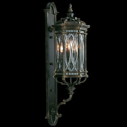 Fine Art Lamps - Warwickshire Four-Light Outdoor Wall Mount in Wrought Iron Patina Finish - Large wall mount of individually beveled, leaded glass panels set in a dramatic dark wrought iron patina.  - Fine Art Lamps is world-renowned for original, elegant lighting designs favored by discerning designers, architects, consumers, and luxury homebuilders. Exquisite finishes are the company's hallmark, and many finishes take countless steps to achieve the desired effect. Each finish is handcrafted making it a one-of-a-kind work of art. Fine Art Lamps - 612081ST