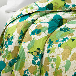 Diane von Furstenberg Gingko Forest Duvet - Bring the runway to your bedroom with this contemporary abstract botanical print duvet. Perhaps the ginkgo leaves will improve your memory via osmosis.