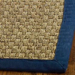 Safavieh - Hand-woven Sisal Natural/ Blue Seagrass Runner (2'6 x 16') - Dress up any space with this natural hand-woven runner made from seagrass with a cotton backing. The fringeless border on this rug gives it a clean look.
