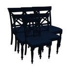 EuroLux Home - New Chair Black Set 6 Painted Hardwood Cross - Product Details