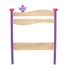 "Girl Teaset Twin Headboard - Teacups perch on the posts of this adorable headboard, made of birch wood finished with natural and bright colored stains. 42""H x 39""W.  Attaches with bolts to standard twin bed frames.  2 Teacup and 1 teapot finials included."