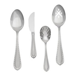Waterford 6430814 Powerscourt Matte 4 Piece Hostess Set - Turn everyday meals into special occasions with the Waterford 6430814 Powerscourt Matte 4 Piece Hostess Set. This stainless steel set has bold lines and was named after one of the most notable country estates in Ireland. It's conveniently dishwasher-safe.Set Includes:Butter serving knifeLarge serving spoonLarge pierced serving spoonSmall serving spoonAbout WaterfordWaterford is the world's most coveted name in crystal. Rich in history, this company was founded in 1783 by William and George Penrose in the heart of the Irish harbor town of Waterford. Throughout the generations, they have become known worldwide for creating crystal and glass drinkware, crystal gifts, and home accessories of unsurpassed beauty and quality. From the Waterford Lismore, the most famous Waterford pattern, to innovative contemporary patterns, Waterford items are instant heirloom pieces everyone will treasure.