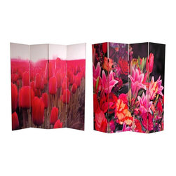 Oriental Unlimted - Double Sided 6 ft. Tall Spring Flowers Canvas - One double-sided divider, both sides shown in image. High quality wood & fabric covered room divider. Well constructed, extra durable, kiln dried Spruce wood frame panels. Covered top to bottom, front, back and edges, with tough stretched poly-cotton blend canvas. 2 Extra large, beautiful art prints. Printed with fade resistant, high color saturation ink creating 2 stunning, long lasting, vivid images. Powerful visual focal points for any room. Amazingly inexpensive, practical, portable, decorative accessory. Almost entirely opaque, double layer of canvas, providing complete privacy. Easily block light from a bedroom window or doorway. Great home decor accent - for dividing a space, redirecting foot traffic, hiding unsightly areas or equipment. Provides a background for plants or sculptures, or use to define a cozy, attractive spot for table and chairs in a larger roomTreat yourself to a pair of lovely floral photographs blossoming with color. The image on the front is a tulip grove in rich red, sunlight blooming in the background. On the other side is a lovely close up of a mixed garden brimming with multi-colored varietals. These beautiful, brightly colored images will provide you with a functional, decorative accent piece for your living room, bedroom, dining or kitchen. This 4 panel screen has different images on each side.
