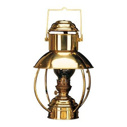 """16"""" Brass Trawler Lantern - The brass trawler lantern is available in size 16"""" x 10"""". It is made of polished brass  is available in oil  electric. It will add a definite nautical touch to wherever it is placed and is a must have for those who appreciate high quality nautical decor. It makes a great gift, impressive decoration and will be admired by all those who love the sea."""