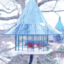 Arundale - Sky Cafe Bluebird Feeder - The Sky Cafe Bluebird Feeder with its beautiful sapphire blue dome is designed to attract bluebirds, orioles and their fledglings. Carefully protected from larger birds like robins by its wire-formed cylinder, mealworms are held within a cup in the center