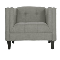 Apt2B.com - The Pacific Chair, Dove - This handsome chair will give any room a classic feel. The tight tufting on the seat, back, and inside arms with detailed stitching shows that the devil really is in the details. The Pacific's simple lines make it perfect for a small space. Each piece is expertly handmade to order in the USA and takes around 2-3 weeks in production. Features a solid hardwood frame and upholstered in a textured poly-blend fabric.