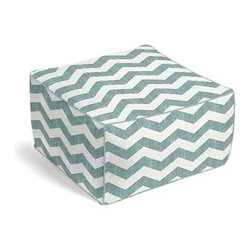 Aqua & White Chevron Custom Pouf - The Square Pouf is the hottest thing in decor since the sectional sofa. This bean bag meets Moroccan style ottoman does triple duty as a comfy extra seat, fashion-forward footstool, or part-time occasional table. We love it in this graphic chevron in a washed aqua blue and ivory on lightweight linen that adds a punch of color to the contemporary home.
