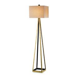 Currey & Co - Currey & Co 8049 Bel Mondo Gold Leaf Floor Lamp - 1 Bulb, Bulb Type: 150 Watt Edison; Weight: 18lbs