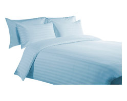 """400 TC 15"""" Deep Pocket Sheet Set with Duvet Set Striped Sky Blue, Queen - You are buying 1 Flat Sheet (98 x 102 inches), 1 Fitted Sheet (60 x 80 inches), 1 Duvet Cover (88 x 88 Inches) and 4 Standard Size Pillowcases (20 x 30 inches) only."""