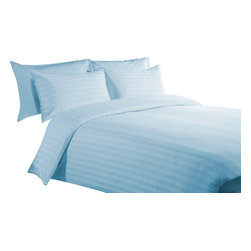 "400 TC 15"" Deep Pocket Sheet Set with Duvet Set Striped Sky Blue, Queen - You are buying 1 Flat Sheet (98 x 102 inches), 1 Fitted Sheet (60 x 80 inches), 1 Duvet Cover (88 x 88 Inches) and 4 Standard Size Pillowcases (20 x 30 inches) only."
