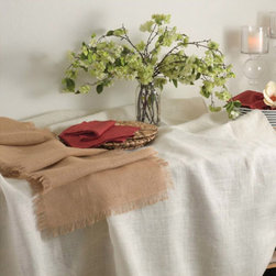 Burlap Tablecloths - Natural and neutral table linens that allow the table settings and flowers to take center stage whether you're hosting a wedding reception or a barbecue. One hundred percent jute and available in 90 to 132 inch diameters; natural or ivory.