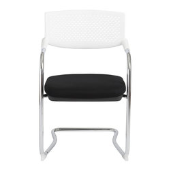 Euro Style - Fauve Visitor Chair (Set of 4) - White/Chrome - This one is worth a second look.  It's practical fabric over foam seat and adjustable 5-star base are fitting requirements for a sturdy office chair.  But take another look that seat back.  It is elegantly supported only by the chair's chrome arms adding a lightness to office settings.